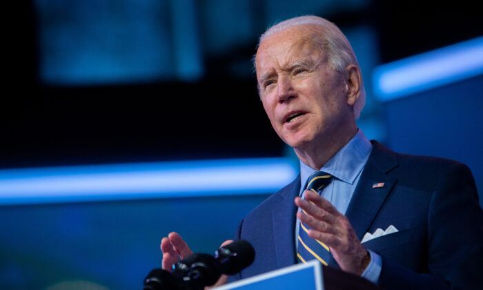 Democratic presidential candidate Joe Biden delivers remarks at the Queen Theater in Wilmington, Dela. on Dec. 28, 2020. (Mark Makela/Getty Images)