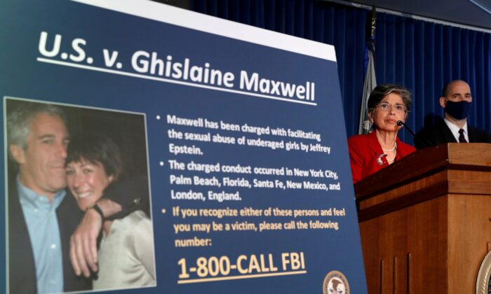 Audrey Strauss, acting United States attorney for the Southern District of New York, speaks alongside William Sweeney Jr., assistant director-in-charge of the FBI's New York Office, at a news conference announcing charges against Ghislaine Maxwell, in New York City on July 2, 2020. (Lucas Jackson/Reuters)