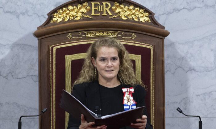 Governor General Julie Payette delivers the Throne Speech in the Senate chamber, on Dec. 5, 2019 in Ottawa. (Sean Kilpatrick/The Canadian Press)
