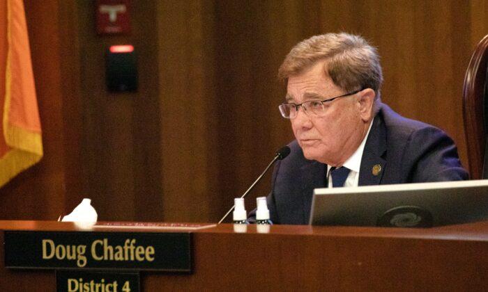 Orange County Supervisor Doug Chaffee attends a board of supervisors meeting in Santa Ana, Calif., on Sept. 29, 2020. (John Fredricks/The Epoch Times)