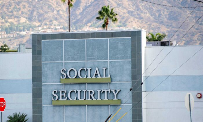 A sign outside a Social Security building in Burbank, Calif., on Nov. 5, 2020. (Valerie Macon/AFP via Getty Images)