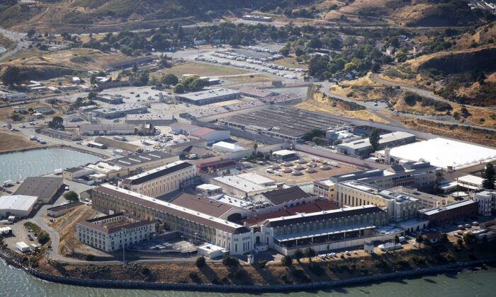 An aerial view San Quentin State Prison in San Quentin, California on July 8, 2020. (Justin Sullivan/Getty Images)