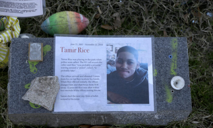File photo showing a memorial for Tamir Rice, in Richmond, Va., on Dec. 13, 2020. (Jacqueline Larma/AP Photo, File)