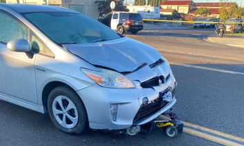 A silver Toyota Prius collided with a man in a wheelchair in Santa Ana, Calif., on Dec. 29, 2020. (Courtesy of the Santa Ana Police Department)