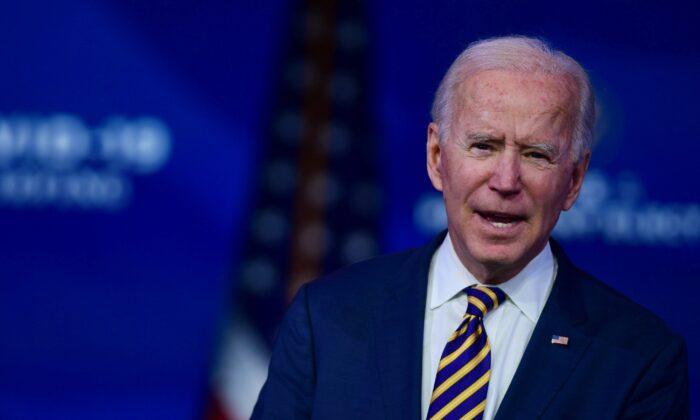 Democratic presidential nominee Joe Biden delivers remarks in Wilmington, Del., on Dec. 29, 2020. (Mark Makela/Getty Images)