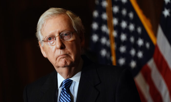 Republican Senate Leader Mitch McConnell (R-Ky.) speaks to the media after the Republican's weekly senate luncheon in the U.S. Capitol in Washington on Dec. 8, 2020. (Kevin Dietsch/Pool/Getty Images)