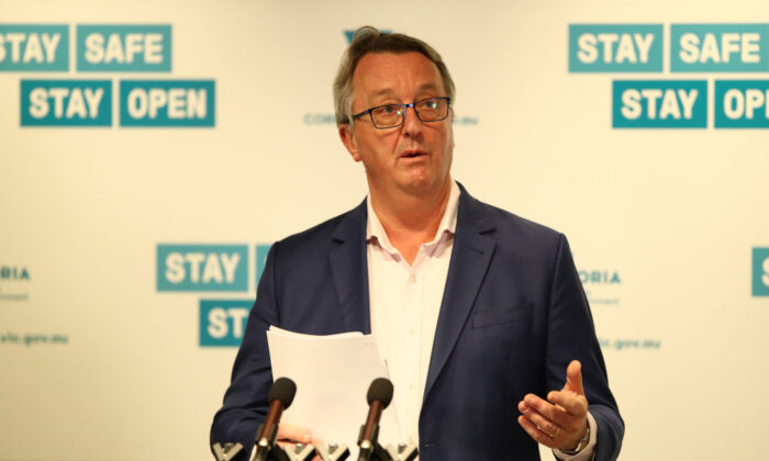 Victorian Health Minister Martin Foley at a press conference in Melbourne, Australia on Dec. 6, 2020. (Robert Cianflone/Getty Images)