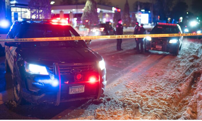 The scene at 36th St. and Cedar Ave. S. after a man was shot and killed by Minneapolis Police on Dec. 30, 2020. (Jeff Wheeler/Star Tribune via AP)