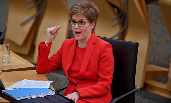 First Minister Nicola Sturgeon attends a debate at the Scottish Parliament on the trade and cooperation agreement between the UK and the EU, in Edinburgh on Dec. 30, 2020. (Jeff J Mitchell/Getty Images)