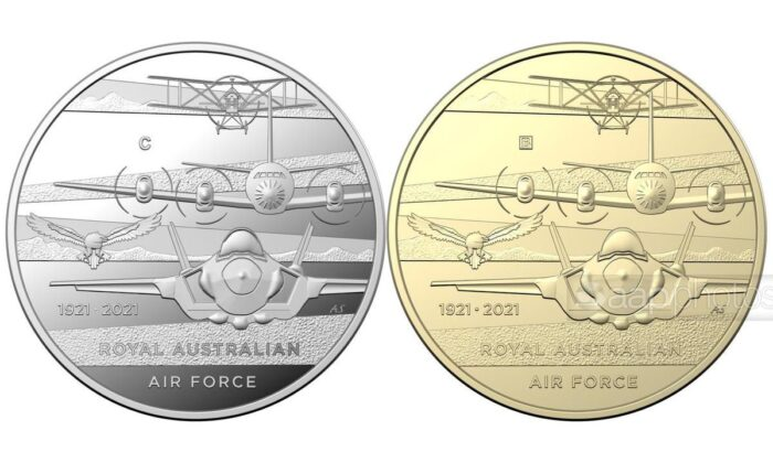 Australia's first coin for 2021 will carry an image of three different generations of RAAF aircraft. (AAP)