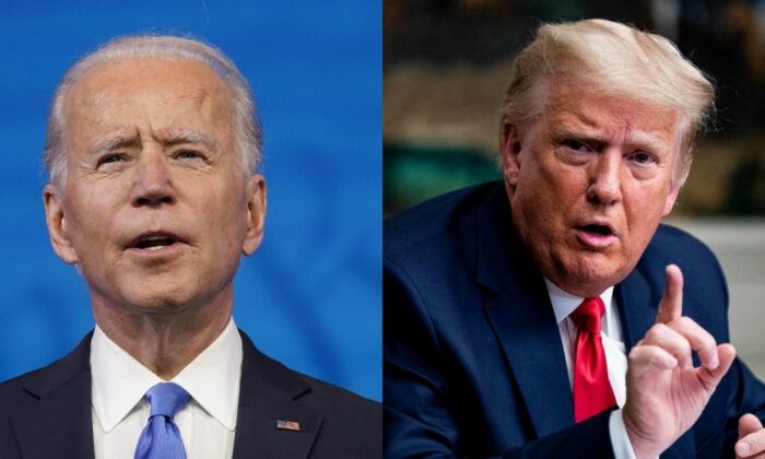 Democratic presidential candidate Joe Biden, left, and President Donald Trump in file photographs. (AP Photo; Getty Images)
