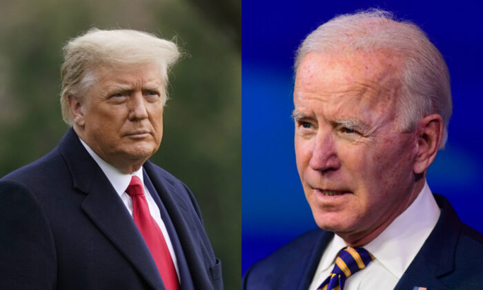 Then-President Donald Trump (L) and President Joe Biden in file photographs. (AP Photo; Getty Images)