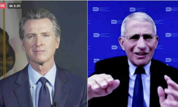 California Gov. Gavin Newsom (L) and Dr. Anthony Fauci (R) during a conversation on Dec. 30, 2020. (Office of the Governor via AP)