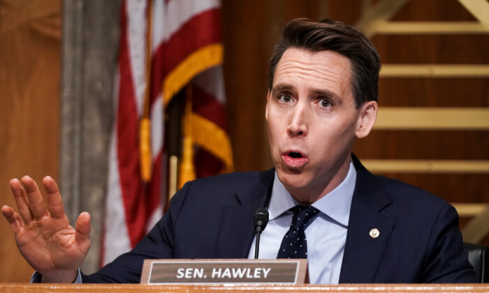 Sen. Josh Hawley (R-Mo.) asks questions during a Senate Homeland Security and Governmental Affairs Committee hearing to discuss election security and the 2020 election process in Washington on Dec. 16, 2020. (Greg Nash-Pool/Getty Images)