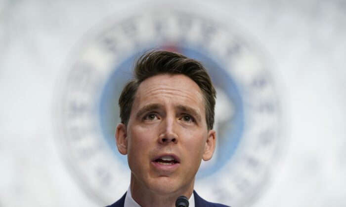 Sen. Josh Hawley (R-Mo.) speaks in Washington on Oct. 12, 2020. (Susan Walsh/Pool/AP Photo)
