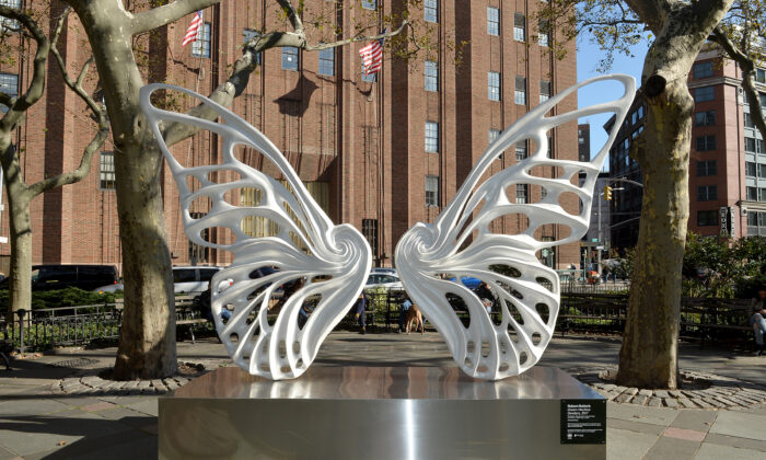 A view of the sculpture by Rubem Robierb dedicated to the transgender GNC community in NYC's Tribeca Park, New York, on Nov. 4, 2019. (Noam Galai/Getty Images for Mastercard)