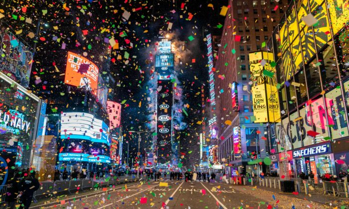 The ball drops to ring in the new year in a mostly empty Times Square in New York City on Jan. 1, 2021. (Corey Sipkin/AFP via Getty Images)