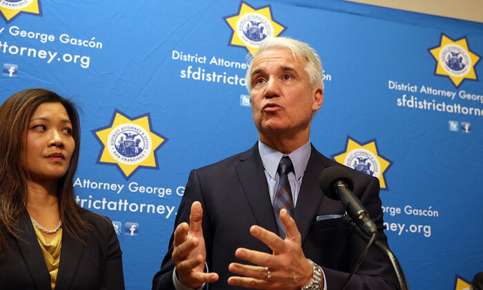George Gascón, then San Francisco District Attorney who took office as Los Angeles County District Attorney on Dec. 7, 2020, speaks during a news conference in San Francisco on Dec. 9, 2014. (Justin Sullivan/Getty Images)
