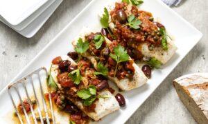 Halibut Puttanesca Adds Big Flavor to Mild Fish Fillets