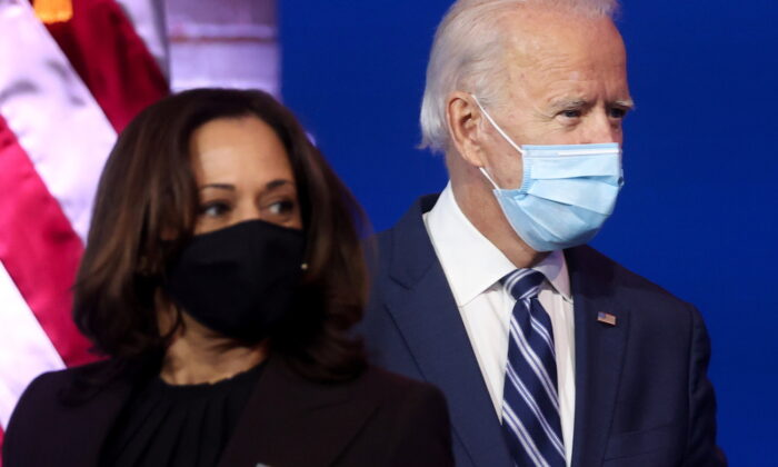 President-elect Joe Biden and Sen. Kamala Harris face reporters during a brief news conference in Wilmington, Delaware, on Nov. 10, 2020. (Jonathan Ernst