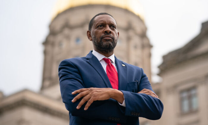 Georgia state Rep. Vernon Jones poses for a portrait at the Georgia State Capitol in Atlanta, Ga., on Oct. 25, 2020. (Elijah Nouvelage / AFP via Getty Images)