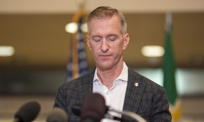 Portland Mayor Ted Wheeler speaks to the media at City Hall in Portland, Ore., in this file photo taken on Aug. 30, 2020. (Nathan Howard/Getty Images)
