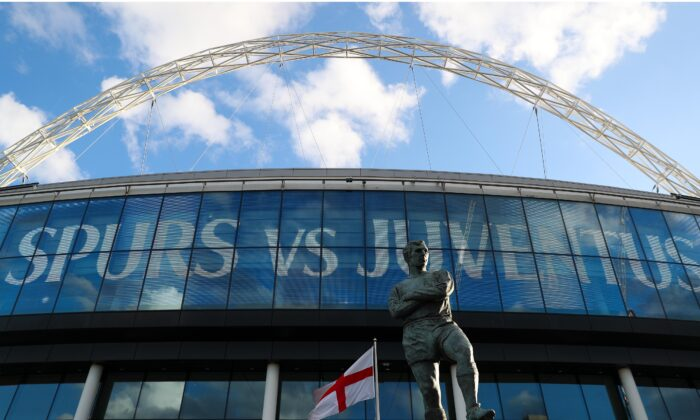 Bobby Moore statue is seen outside the stadium prior to the UEFA Champions League Round of 16 Second Leg match between Tottenham Hotspur and Juventus at Wembley Stadium, in London, on March 7, 2018. (Catherine Ivill/Getty Images)