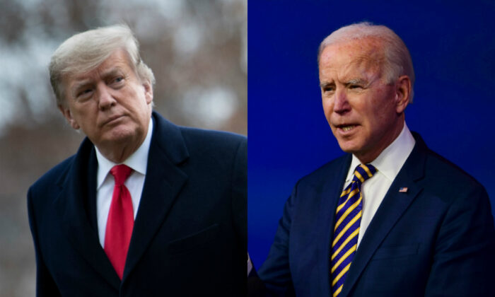 President Donald Trump (L) and Democratic presidential candidate Joe Biden in file photographs. (Getty Images)