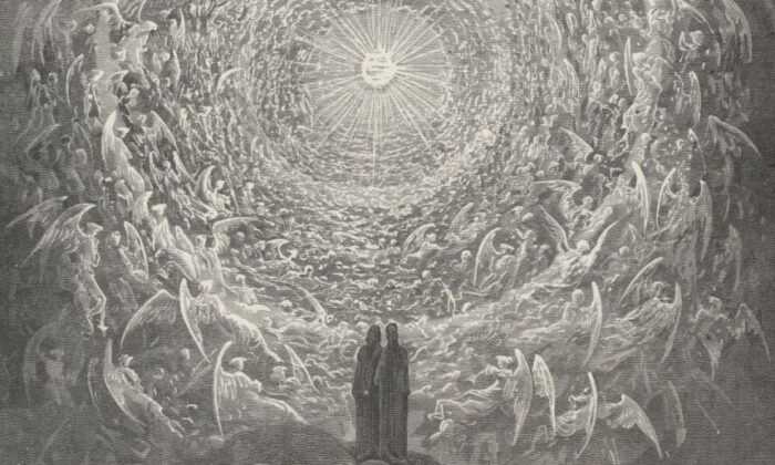 """Dante and Beatrice gazing at Empyrean, in Canto 31 of Dante's """"Paradise,"""" illustrated by Gustave Doré. (Public Domain)"""