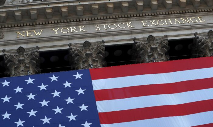 The U.S. flag is seen on the New York Stock Exchange (NYSE) following Election Day in Manhattan, New York City, on Nov. 4, 2020. (Andrew Kelly/Reuters)