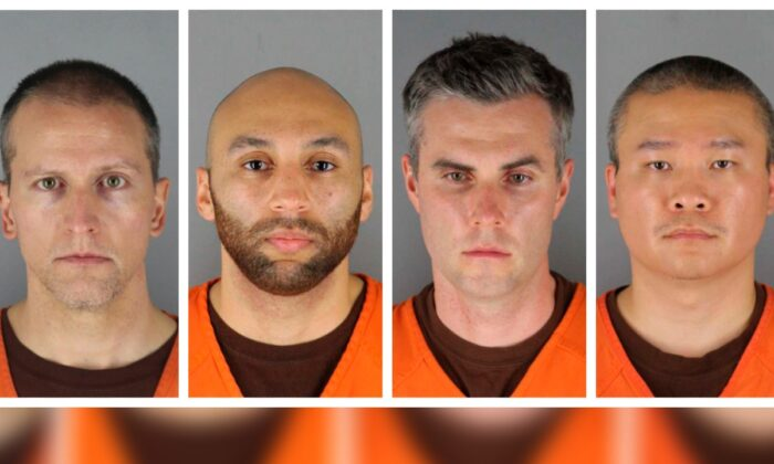 This combination of photos provided by the Hennepin County Sheriff's Office in Minnesota on June 3, 2020, shows Derek Chauvin, from left, J. Alexander Kueng, Thomas Lane, and Tou Thao. (Hennepin County Sheriff's Office via AP)