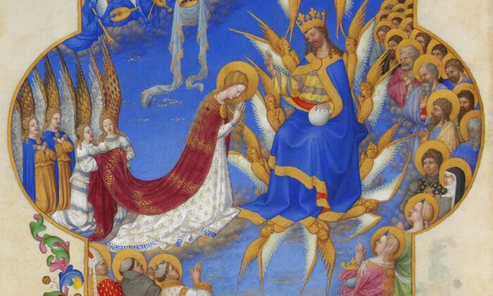 "Detail of""The Coronation of the Virgin,"" from ""The Very Rich Hours of the Duke of Berry,"" Folio 60, back; between 1412 and 1416, by the Limbourg brothers. Tempera on vellum; 8.8 inches by 5.3 inches. Condé Museum, France. (PD-US)"
