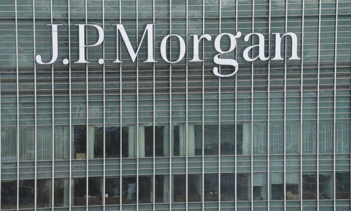 The offices of investment banking company J.P. Morgan is seen in London, England, on Sept. 2, 2020. (Daniel Leal-Olivas/AFP via Getty Images)