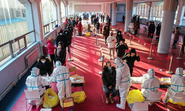 People are lining up for the COVID-19 test in Shenyang city, Liaoning Province, China, on Jan. 2, 2021. (STR/AFP via Getty Images)