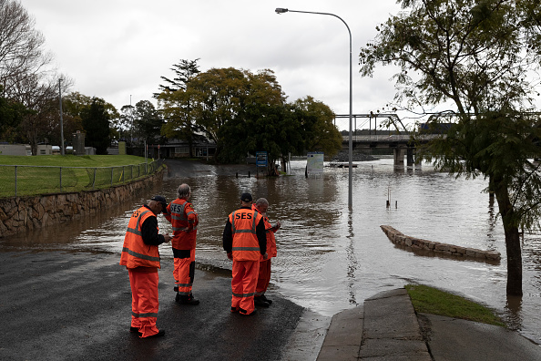 State Emercency Workers at the edge of the flooded Shoalhaven River in Nowra, Australia on Aug. 10, 2020. (Brook Mitchell/Getty Images)