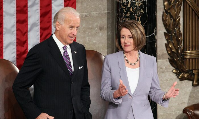 Then-Vice President Joe Biden and U.S. Speaker of the House Rep. Nancy Pelosi at the U.S. Capitol on Jan. 27, 2010. (Mark Wilson/Getty Images)
