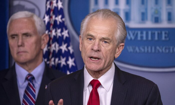 Peter Navarro, director of the National Trade Council, speaks during a press briefing in the James Brady Press Briefing Room at the White House on March 22, 2020. (Tasos Katopodis/Getty Images)