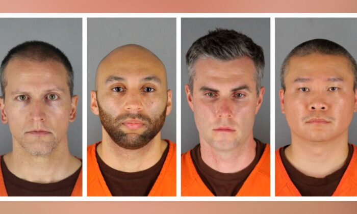 This combination of photos provided by the Hennepin County Sheriff's Office in Minnesota on June 3, 2020, shows Derek Chauvin, from left, J. Alexander Kueng, Thomas Lane and Tou Thao. (Hennepin County Sheriff's Office via AP)