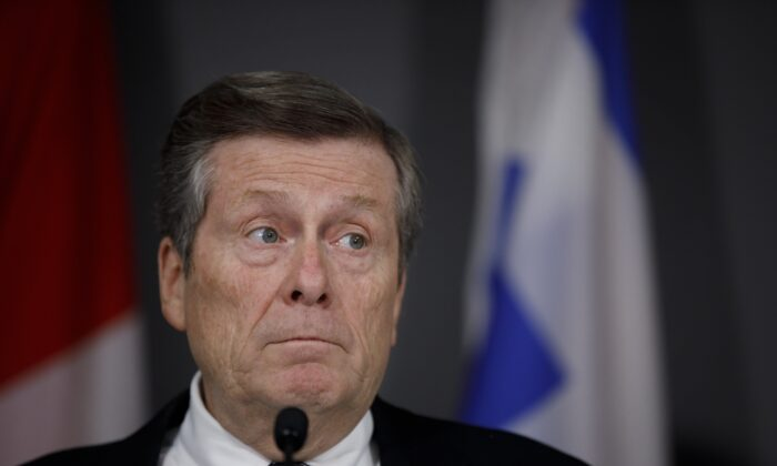 Toronto Mayor John Tory speaks during a press conference in Toronto on Feb. 29, 2020. (Cole Burston/The Canadian Press)