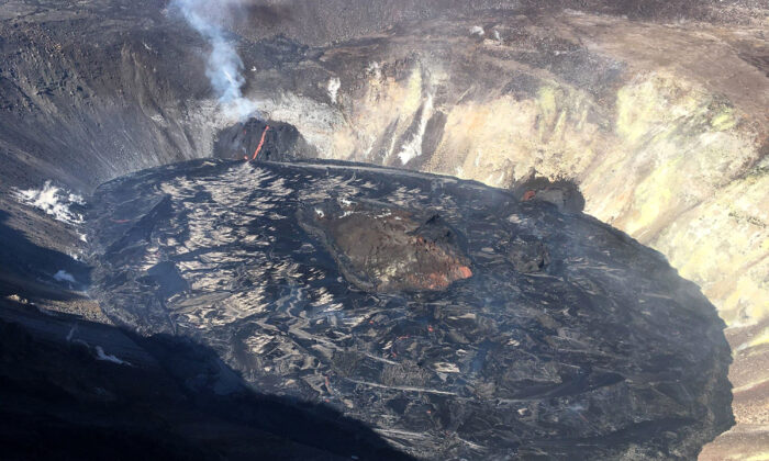 A crater in Hawaii's Kilauea volcano is shown on Dec. 28, 2020. (M. Patrick/U.S. Geological Survey via AP)
