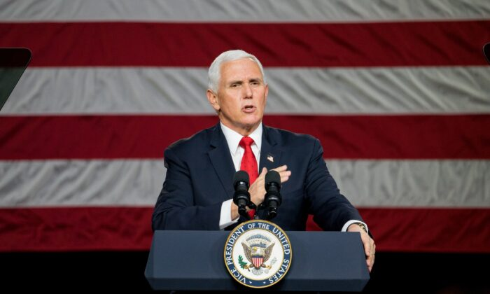 Vice President Mike Pence speaks during a visit to Rock Springs Church to campaign for GOP Senate candidates in Milner, Ga., on Jan. 4, 2021. (Megan Varner/Getty Images)