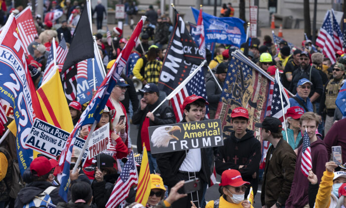 Supporters of President Donald Trump rally to protest the 2020 election, at Freedom Plaza in Washington on Dec. 12, 2020. (Jose Luis Magana/AFP via Getty Images)