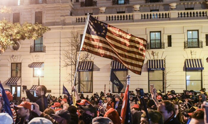 Supporters of President Donald Trump wave a Betsy Ross flag during a protest in Washington on Dec. 12, 2020. (Stephanie Keith/Getty Images)