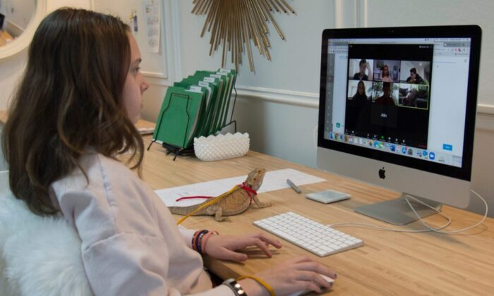 A Grade 6 student takes part in a virtual school session with her teacher and classmates via Zoom from her home. (The Canadian Press/Jonathan Hayward)