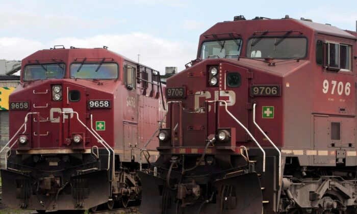Canadian Pacific locomotives sit in a rail yard on May 23, 2012 in Montreal. (The Canadian Press/Ryan Remiorz)