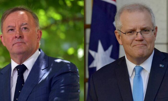 Leader of the Opposition Anthony Albanese (left) on Dec. 11, 2020 and Prime Minister Scott Morrison (right) on Dec. 9, 2020 in Canberra, Australia. (Sam Mooy/Getty Images)