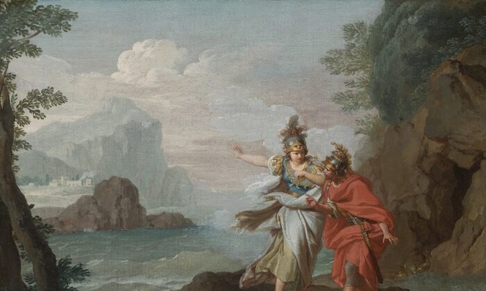 Athena appearing to Odysseus to reveal the Island of Ithaca by Giuseppe Bottani (1717–1784). (Public Domain)