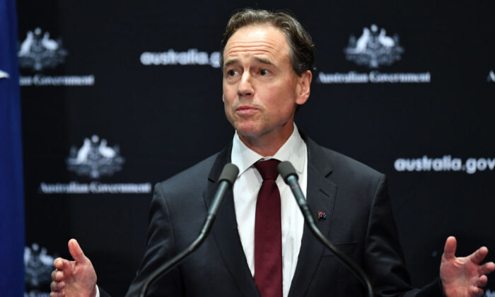 Federal Health Minister Greg Hunt at a press conference in the Main Committee Room at Parliament House in Canberra, Australia on April 8, 2020. (Sam Mooy/Getty Images)