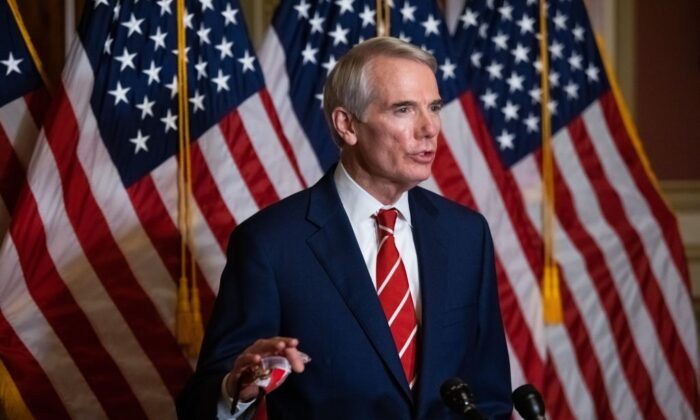 Senator Rob Portman (R-Ohio) speaks during a press conference on Capitol Hill, Washington, on Oct. 26, 2020. (Graeme Jennings/POOL/AFP via Getty Images)