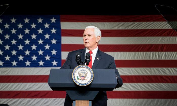 Vice President Mike Pence speaks during a visit to Rock Springs Church in Milner, Georgia, on Jan. 4, 2021. (Megan Varner/Getty Images)